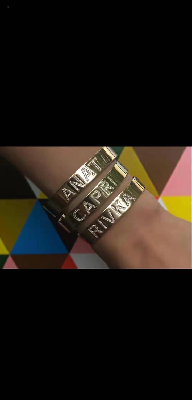 3UMeter Crystal Hollow Name Bangl Bar Bracelet Custom Name Personalized Bracelets for Etsy Best Friend Gifts Drop Shipping