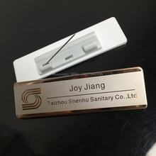 50pcs custom pin name badge 70*20mm personalized laser employee name tag holder with stainless steel and acrylic plate