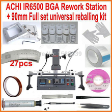 Original ACHI IR6500 DARK IR BGA rework station + 27pcs 90mm universal bga stencils diagonal reball station + 18pcs free gift(China)