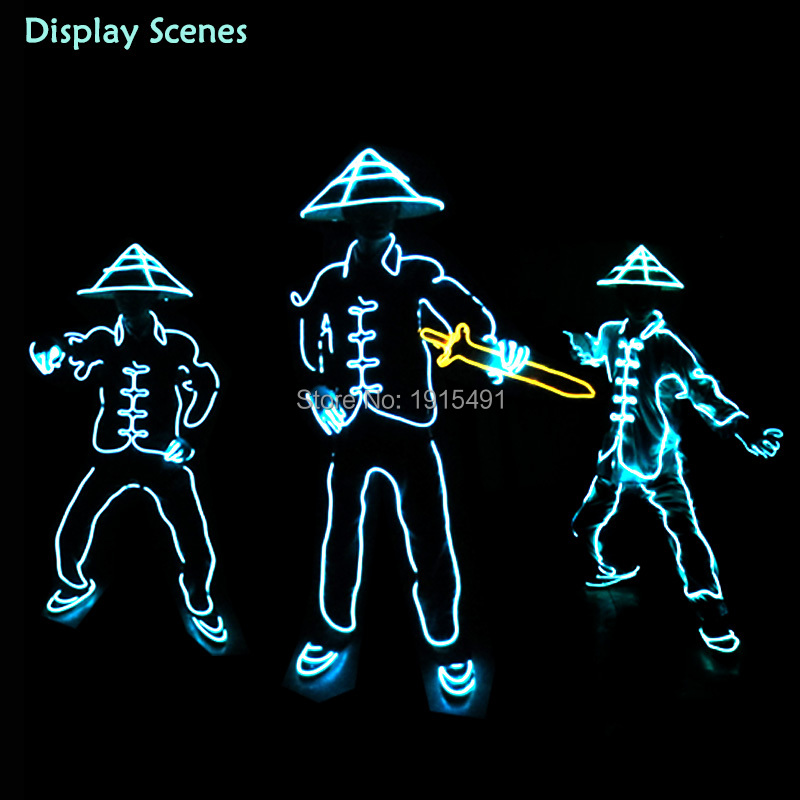 Light Up Cold Light China Ancient Soldiers Costume with Bamboo Hat Funny DIY Carnival Neon Led Strip Flashing Birthday Clothing<br>