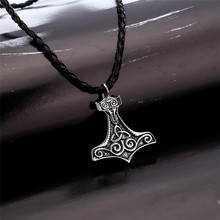 Necklaces Nordic Thor Hammer Mjolnir Thor Viking Gothic Male Chain Necklace Pendant Jewelry Scandinavian May3117(China)
