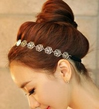 LZ Jewelry Hut H3 2016 New Arrival Gold Colors Flower Elasticity Hairbands / Hair Wear/ Headband For Women E-shine Jewelry