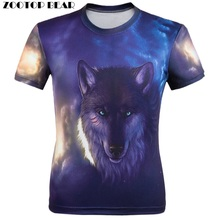 New 2017 3D T shirt Men Animal print Fierce wolves Short Sleeve Costume Wolf Fitness tshirt Galaxy homme Camisetas ZOOTOP BEAR