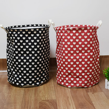35*45cm New Zakka Unique Foldable Cotton Hearts Pattren Washing Clothes Bag Hamper Storage waterproof beam laundry basket(China)