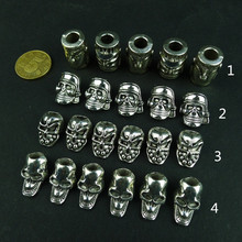 10 pcs/lot Antique Silver Charms Skull Beads DIY Paracord Bracelets Knife Flashlight Lanyards Pendant Accessories