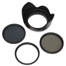 58mm UV CPL ND4 Circular Polarizing Filter Kit Set + Lens Hood With Case For Canon Digital Camera SLR DSLR