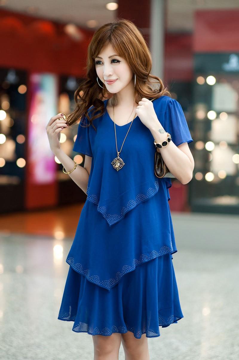 Vestido De Festa Summer Dresses 5XL Plus Size Women Clothing ropa mujer 18 Chiffon Dress Party Short Sleeve Casual Blue Black 12