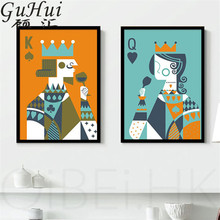 Creative Cartoon Playing Cards King And Queen Canvas Decorative Painting Personality Living Room Coffee Shop Art Poster Picture(China)