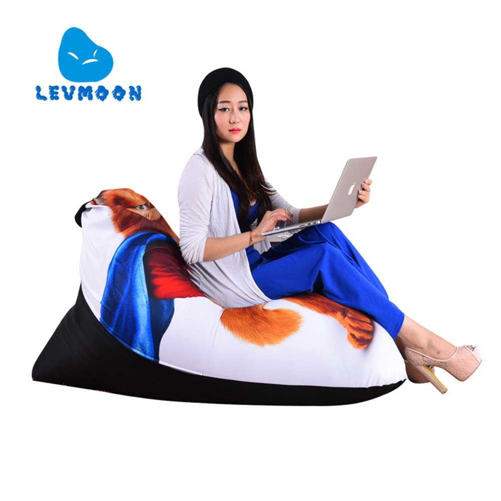 LEVMOON Beanbag Sofa Chair Garfield Cat Seat zac Comfort Bean Bag Bed Cover Without Filler Cotton Indoor Beanbag Lounge Chair<br>