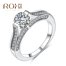 ROXI White gold Color Color Classic Simple Design 6 Prong Sparkling Solitaire 1ct Zirconia  forever Wedding Ring bijoux