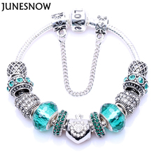 JUNESNOW 2017 New Fashion Green Sliver plated Glass Bead Heart Charm Bracelets for Women Wholesale Jewelry ZY1232(China)