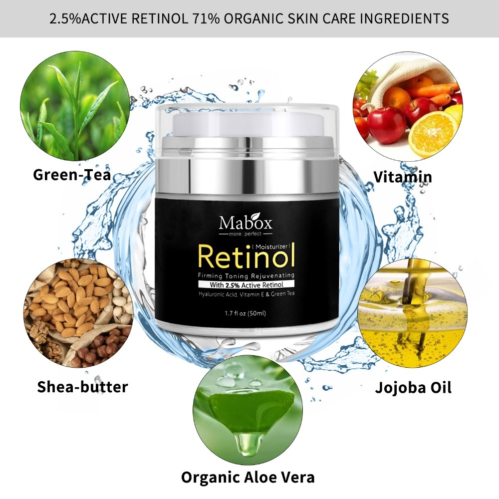 MABOX Retinol 2.5% Moisturizer Face Cream and Eye Hyaluronic Acid Vitamin E Best Night and Day Moisturizing Cream Drop Shipping 4