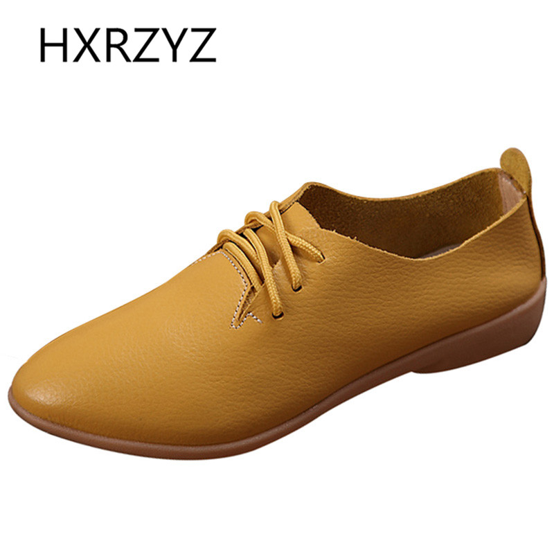 Women Soft Leather Casual Shoes Women Rubber Soles Flat Shoes Spring Autumn Of All-match Fashion Lace-up Single Shoes Loafers<br><br>Aliexpress