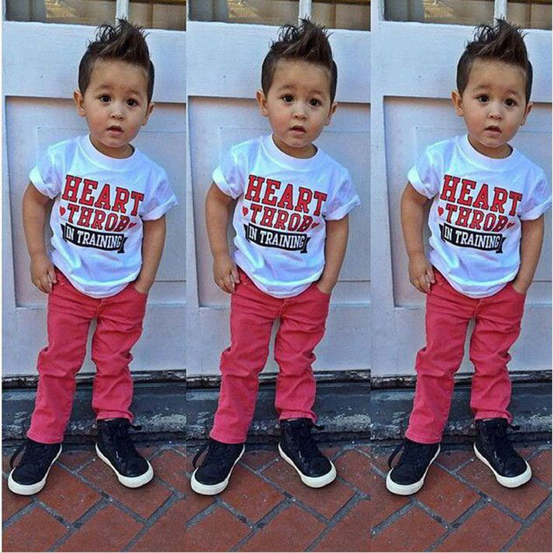 Fashion summer toddler boy short sleeve print t shirt white+ jeans red children clothing set kids clothes boys outfit DY118B