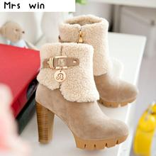 2016 Women High Heel Ankle Boots Platform Heels for Women Fashion snow boots winter Shoes woman Plus Size 34-43 High Quality