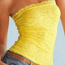 Female T-shirts Women Ladies Casual Lace Floral Off Shoulder Boob Tube Crochet Tank Tops(China)