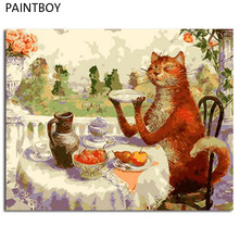 PAINTBOY Cat Framed Painting By Numbers Of Animal DIY Oil Painting On Canvas Home Decor For Living Room g 40*50m Wall Art GX8788(China)