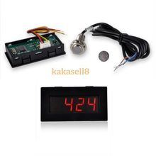 New Red LED Tachometer RPM Speed Meter + Hall Proximity Switch Sensor NPN free shipping