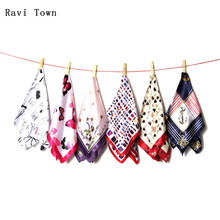 Ravi Town Women Square Scarf 2017 Fashion Printing Female Professional Small Scarves Flower Four Seasons Available 50cm*50cm