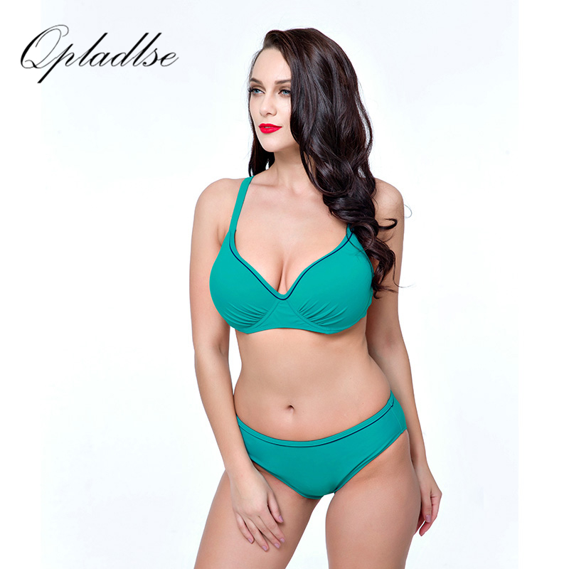 Black Plus Size Swimsuit Women Swimwear Solid Fashion Beach Wear Push Up Bikinis Set 4XL 8XL Super Big Cup May Costume Qpladlse <br>