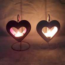 European Style 2 Colors Hollow Heart Shaped Portable Fashion Vintage Metal Candle Holder Romantic Candelabra Home Decor