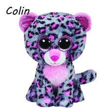 Ty Beanie Boos Original Big Eyes Plush Toy Doll Child Birthday Tasha The Grey and Pink Leopard  Baby 15cm WJ159