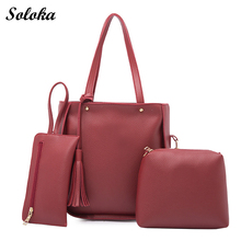 3 Piece Set  Women Bag Casual PU Leather Handbag Tassel Shoulder Bag Ladies Messenger Bag Clutch Wallet 2017 New