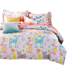 Svetanya Deer Cartoon Kids Adults Bedding Sets Twin Full Queen King Size Doona Duvet Cover Set 100% Cotton Bedlinen