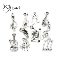 Mixed Tibetan Silver Plated Music Note Guitar Trumpet Sax Charms Pendants Jewelry Making Accessories DIY