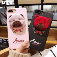 ZMASI Rhinestones Flower Soft Cell Case for iPhone X 7 8 Cloth Bear Phone Bag for iPhone 6s 6 plus TPU Back Case Funda Cover(China)