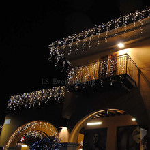 Christmas Lights Outdoor Decoration 3.5m Droop 0.4-0.6m Led Curtain Icicle String Lights New Year Wedding Party Garland Light(China)