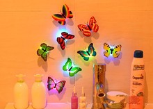 1 colorful luminous butterfly 3D LED night light PVC Butterfly Stickers Home Furnishing decoration new sales hot free wholesale