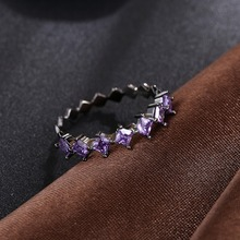 Special offer Free Shipping Black Gun Color purple Crystal from Swarovski fit Wedding Party for Women's Fashion Fine Rings(China)