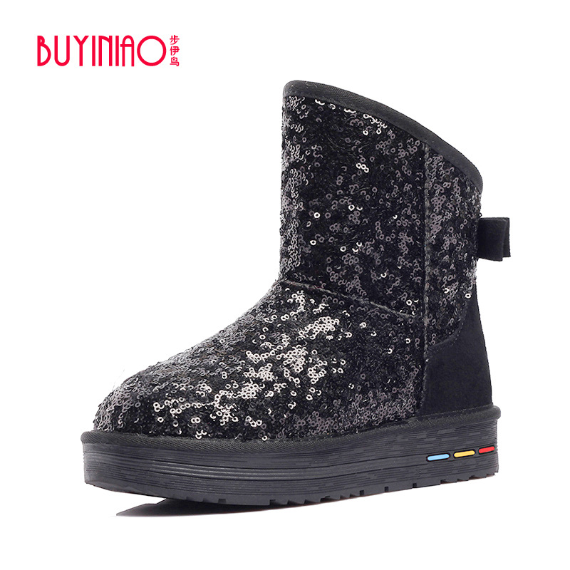 2017 Winter New Sequined Cloth Women Red Snow Boots Brand Design Glitter Fur Ankle Boots Plush Super Warm Glitter Botas Mujer<br><br>Aliexpress
