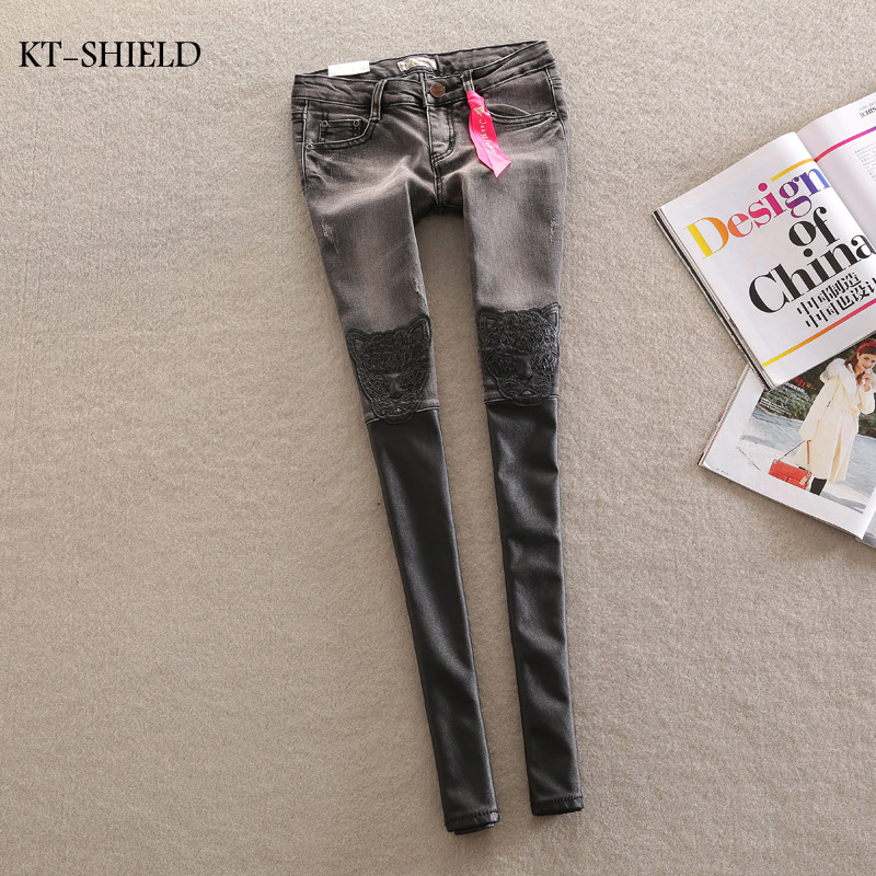 Ripped jeans for women Denim Jeans Woman gray leather stitching leopard patch jeans Femme Skinny Women Denim jean Pants TrousersОдежда и ак�е��уары<br><br><br>Aliexpress