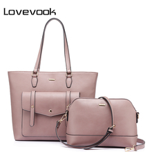 LOVEVOOK brand fashion female shoulder bags large capacity handbag zipper composite bag for women 2017 totes purple/black/green(China)