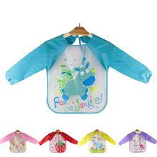 Baby Feeding Bibs Lovely Toddler Waterproof Long Sleeve Art Smock Bib Apron 2016 Cartoon Children Feeding clothing baberos