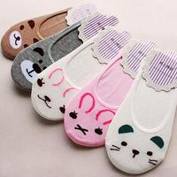 Wholesale Women Invisible Cotton Socks No Show Nonslip Loafer Liner Low Cut Cartoon Animal