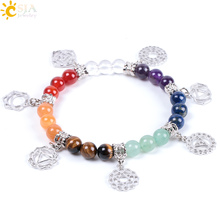Buy CSJA New Hot 8mm 7 Chakra Bracelet Healing Balance Energy Beads Prayer Natural Stone Yoga Bracelets Charm Women Jewelry E996 for $3.58 in AliExpress store