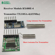 1 set RF module 433 Mhz Wireless Receiver and Transmitter  Receiver Learning Code 1527  4Ch with antenna For Arduino uno DIY kit