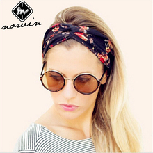Norvin Fashion Women Hair Accessories Floral Print Headband Elastic Turban Knitti Wool Headband Ethnic Wide Stretch Girl New2016
