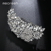 Mecresh Leaf Shape Bridal Hair Combs Luxurious Crystal Rhinestone Wedding Hair Jewelry Accessories Party Gift FS035