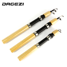 DAGEZI Wooden handle Ice Fishing Rod Telescopic Winter Fishing Stick Ultra light Ice Fishing Tackle 60/80/100cm(China)