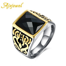 New Fashion Carving Stainless Steel Brand Jewelry Accessories Ajojewel Royal Black Crystal Men Class Rings