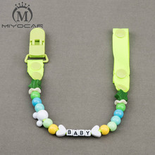 Buy MIYOCAR Personalised -Any name Hand made funny green beads dummy clip dummy holder pacifier clips soother chain baby for $5.70 in AliExpress store