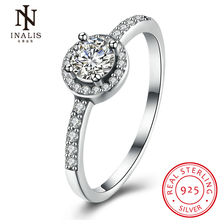 INALIS 2017 New Collection 925 Sterling Silver Brilliant Stackable Ring Clear Round CZ Ring Fine Women Girl Jewelry