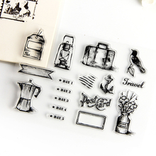 Vase luggage travel transparent silicone stamps, children DIY Handmade Scrapbook Photo Album decor students soft Stamps(China)
