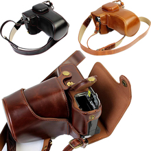 Luxury Pu Leather Video Bag Camera Case For Olympus EM5 II OM-D EM5 Mark II EM5II Camera Pouch Cover Open Battery directly(China)