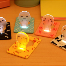 Portable Mini Cute Pocket Fold switch LED Card Night Lamp Put In Purse Wallet Convenient Light New Design Kids Night Lights P30