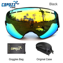 Brand COPOZZ ski goggles double lens UV anti-fog big spherical skiing snowboarding snow goggles GOG-201+Box Case